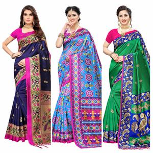 Glorious Printed Wear Art Silk Saree - Pack of 3
