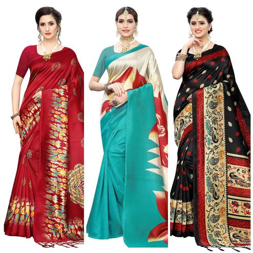 Charming Printed Wear Art Silk Saree - Pack of 3
