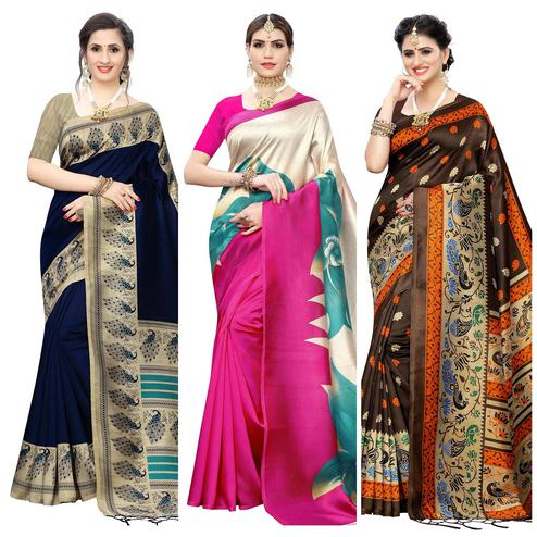 Delightful Printed Wear Art Silk Saree - Pack of 3