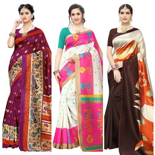 Captivating Printed Wear Art Silk Saree - Pack of 3