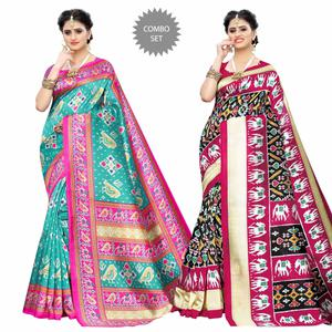Attractive Casual Wear Printed Art Silk Saree - Pack of 2