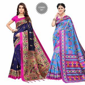 Beautiful Printed Zoya Silk - Art Silk Saree - Pack of 2