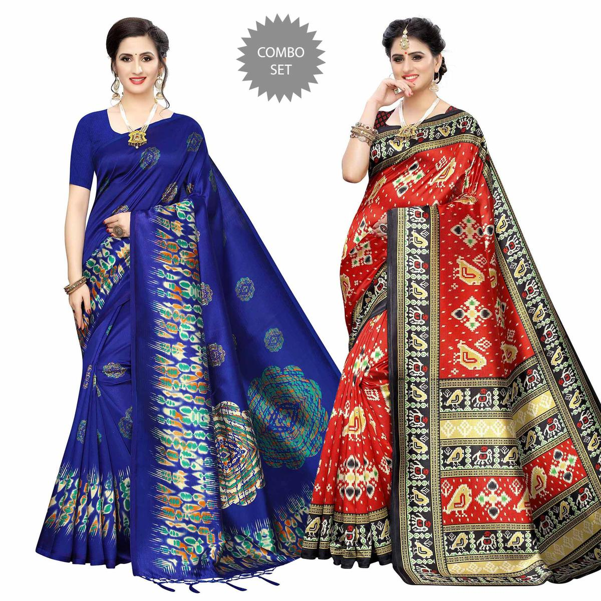 Engrossing Printed Art Silk Saree - Pack of 2