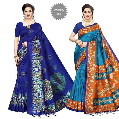 Innovative Festive Wear Printed Art Silk Saree - Pack of 2