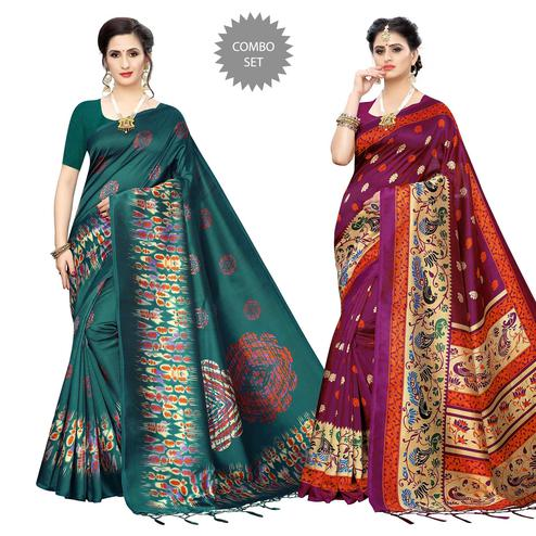 Gorgeous Printed Art Silk Saree - Pack of 2