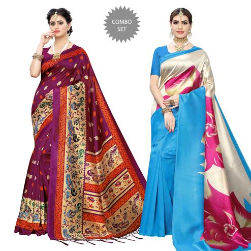 Blissful Printed Art Silk Saree - Pack of 2