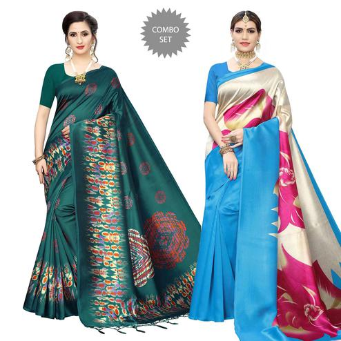 Ideal Printed Art Silk Saree - Pack of 2