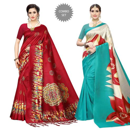 Imposing Printed Art Silk Saree - Pack of 2