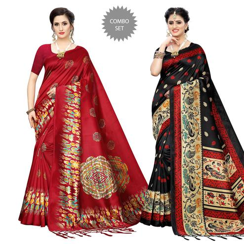 Majesty Printed Art Silk Saree - Pack of 2