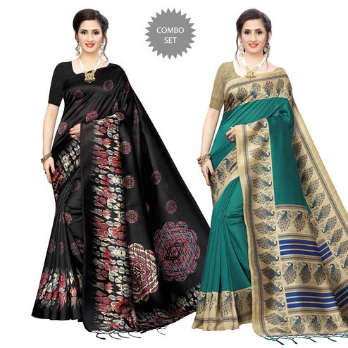 Glowing Printed Art Silk Saree - Pack of 2