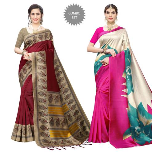 Unique Printed Art Silk Saree - Pack of 2