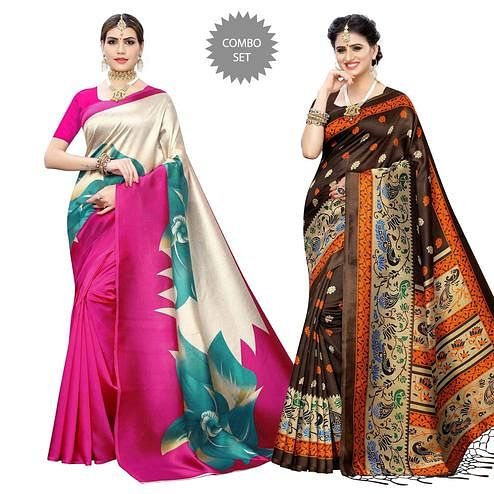 Gleaming Printed Art Silk Saree - Pack of 2