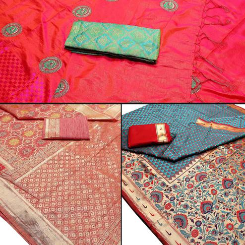 Arresting Festive Wear Woven Banarasi Silk Saree - Pack of 3
