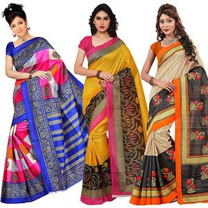 Multicolored - Yellow - Beige Printed Saree (Pack of 3)