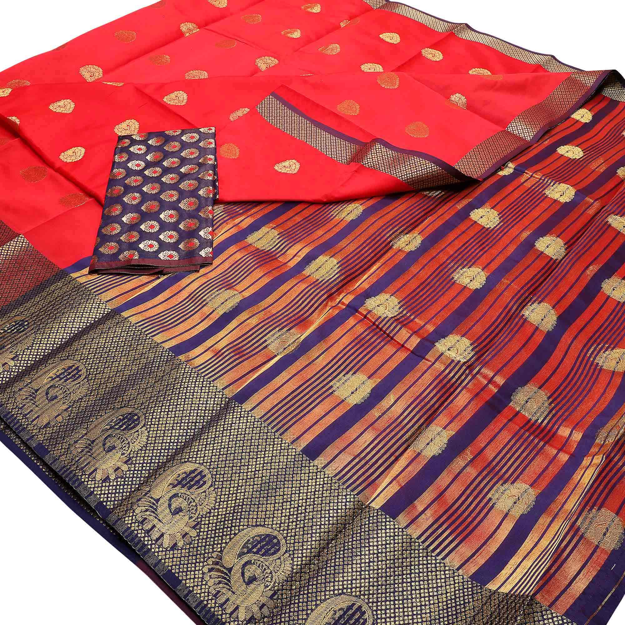Elegant Festive Wear Woven Banarasi Silk Saree - Pack of 3