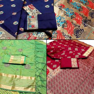 Opulent Festive Wear Woven Banarasi Silk Saree - Pack of 3