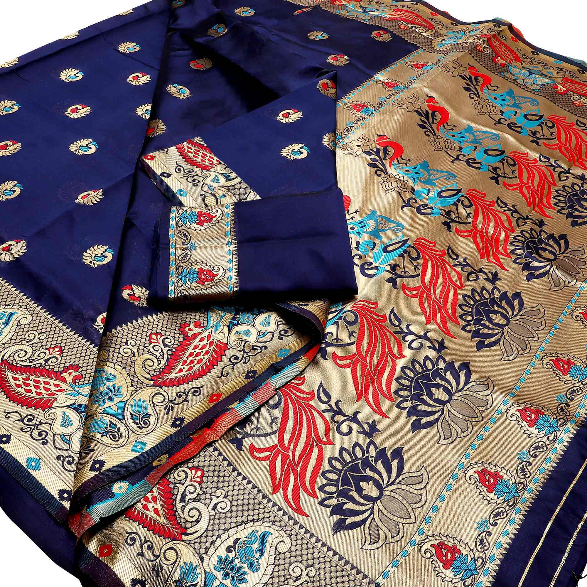 Energetic Festive Wear Woven Banarasi Silk Saree - Pack of 3