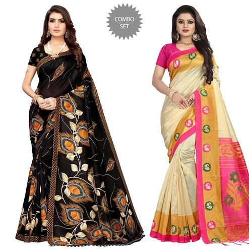 Arresting Festive Wear Printed Silk Saree - Pack of 2