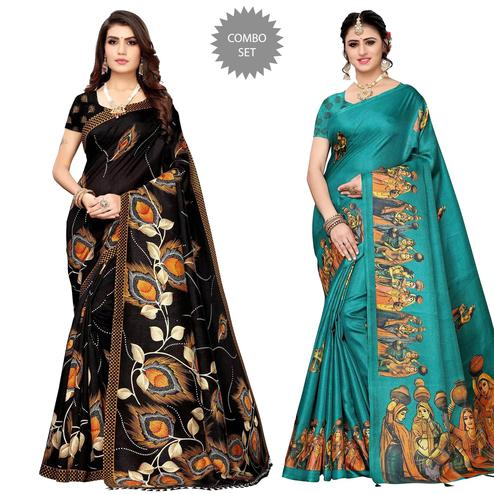 Desirable Festive Wear Printed Silk Saree - Pack of 2