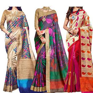 Beige - Grey - Cream Printed Saree (Pack of 3)
