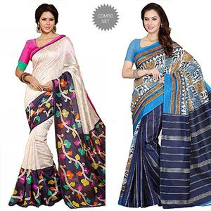 Tan - Blue Printed Saree Combo