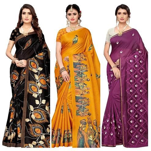 Glorious Festive-Party Wear Printed-Embroidered Silk Saree - Pack of 3
