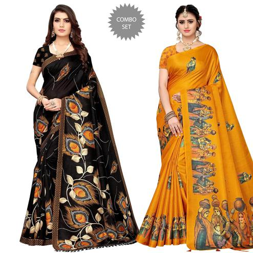 Graceful Festive Wear Printed Silk Saree - Pack of 2