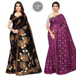 Blooming Festive-Party Wear Printed-Embroidered Silk Saree-Pack of 2