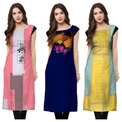 Gorgeous Casual Wear Printed Crepe Kurti - Pack of 3