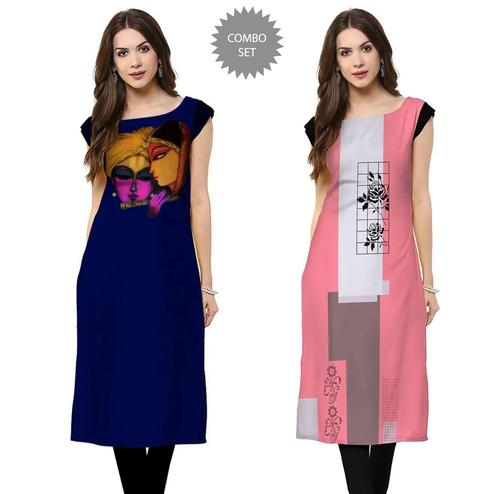 Blissful Casual Wear Printed Crepe Kurti - Pack of 2
