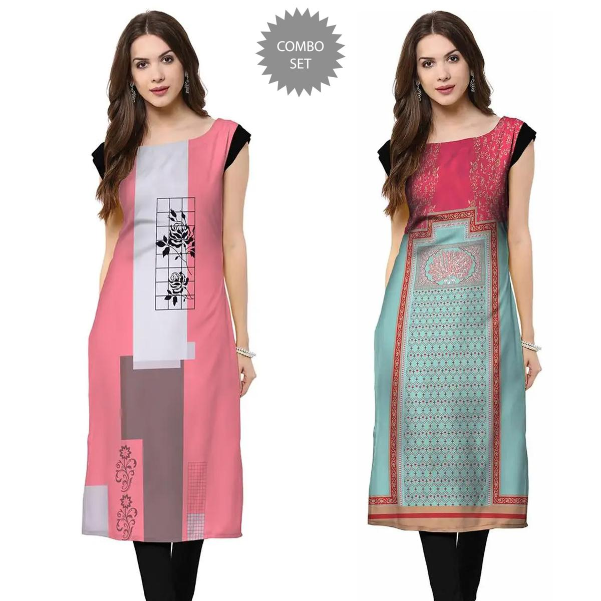 Majesty Casual Wear Printed Crepe Kurti - Pack of 2