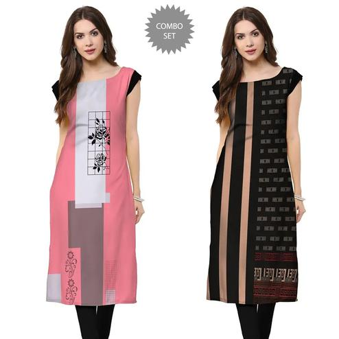 Impressive Casual Wear Printed Crepe Kurti - Pack of 2