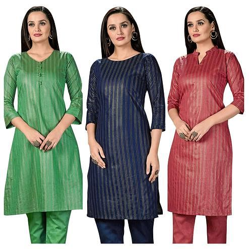Classy Casual Wear Printed Cotton Kurti -  Pack of 3