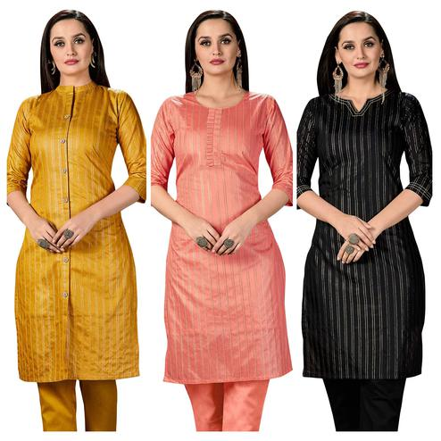 Prominent Casual Wear Printed Cotton Kurti -  Pack of 3