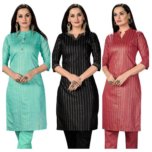 Appealing Casual Wear Printed Cotton Kurti -  Pack of 3