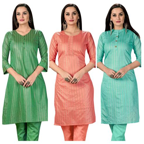 Groovy Casual Wear Printed Cotton Kurti -  Pack of 3