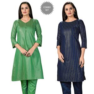 Adorable Casual Wear Printed Cotton Kurti - Pack of 2