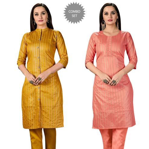 Beautiful Casual Wear Printed Cotton Kurti - Pack of 2