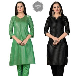 Graceful Casual Wear Printed Cotton Kurti - Pack of 2