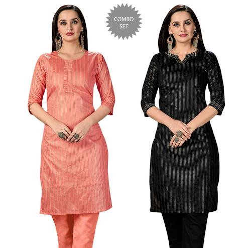 Blooming Casual Wear Printed Cotton Kurti - Pack of 2