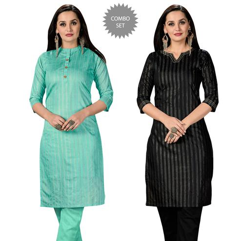 Charming Casual Wear Printed Cotton Kurti - Pack of 2