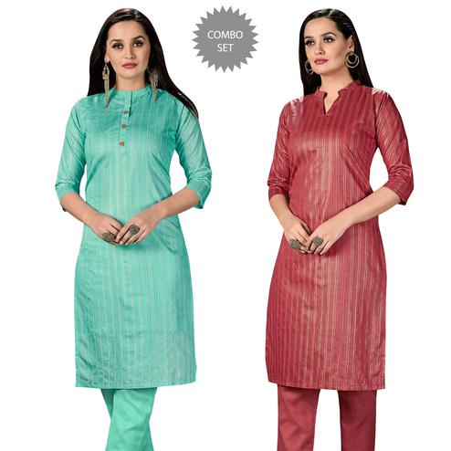 Jazzy Casual Wear Printed Cotton Kurti - Pack of 2