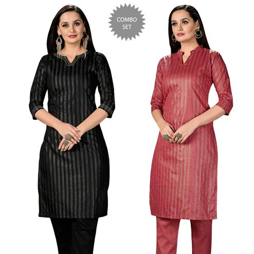 Delightful Casual Wear Printed Cotton Kurti - Pack of 2