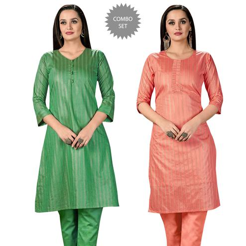 Intricate Casual Wear Printed Cotton Kurti - Pack of 2