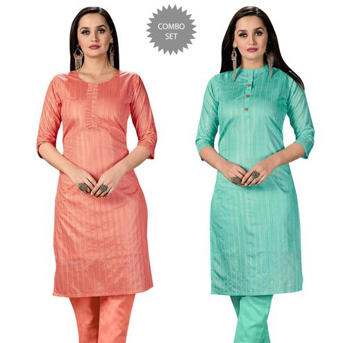 Exotic Casual Wear Printed Cotton Kurti - Pack of 2
