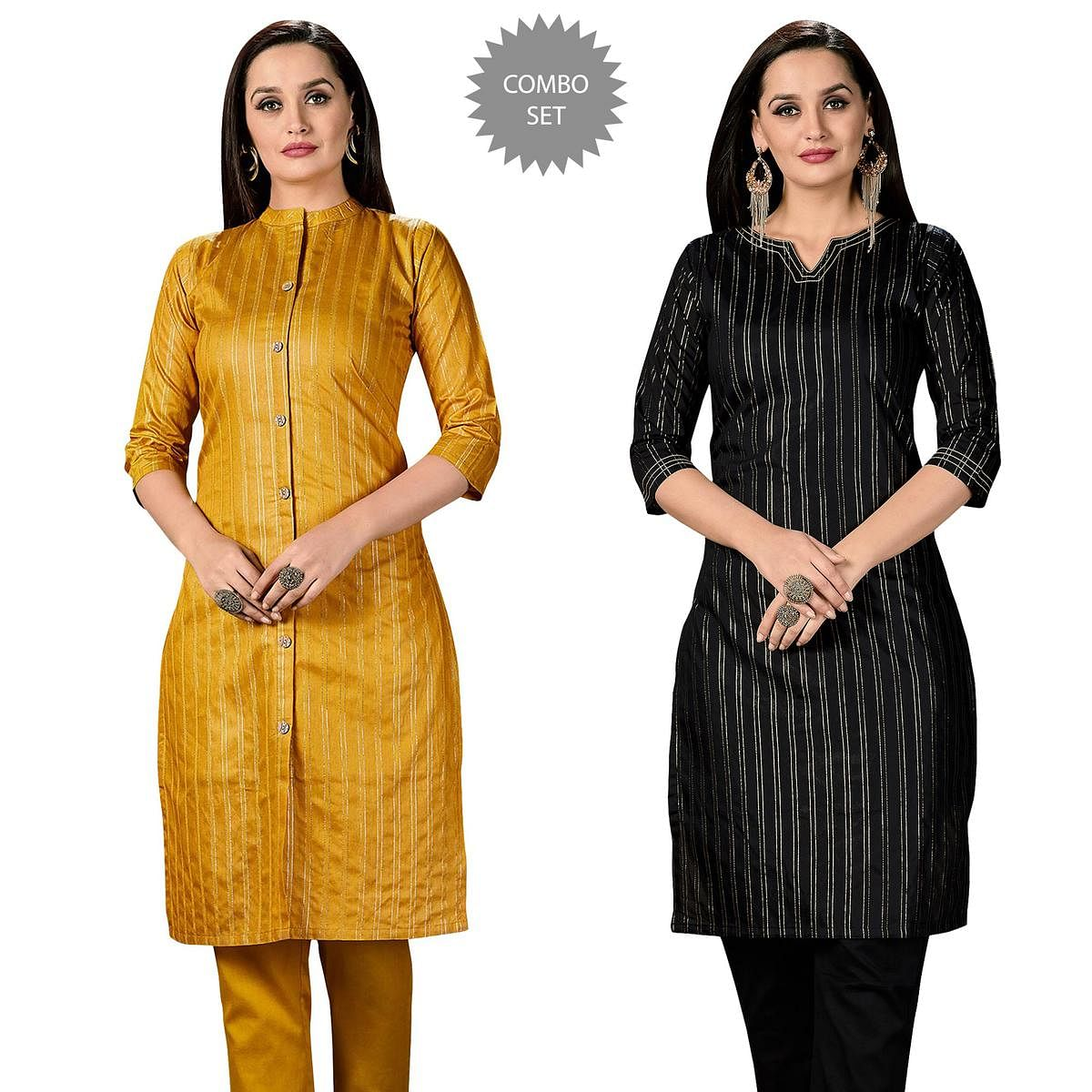 Mesmeric Casual Wear Printed Cotton Kurti - Pack of 2