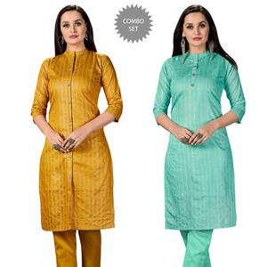 Unique Casual Wear Printed Cotton Kurti - Pack of 2