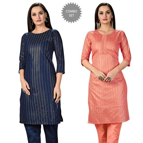 Flaunt Casual Wear Printed Cotton Kurti - Pack of 2
