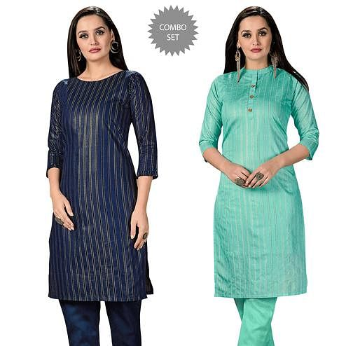 Stunning Casual Wear Printed Cotton Kurti - Pack of 2