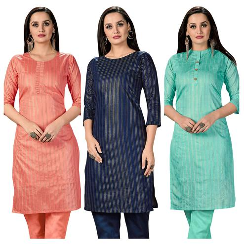 Flirty Casual Wear Printed Cotton Kurti - Pack of 3
